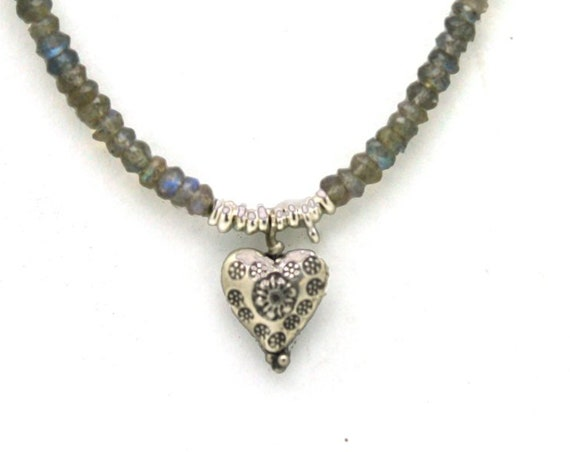 Heart and Labradorite Necklace. Fine Silver Heart. Beaded Charm Necklace. Valentine's Gift.