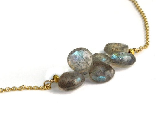 Labradorite Horizontal Bar Necklace.  Dainty Gemstone Necklace in Gold Filled or Sterling Silver.