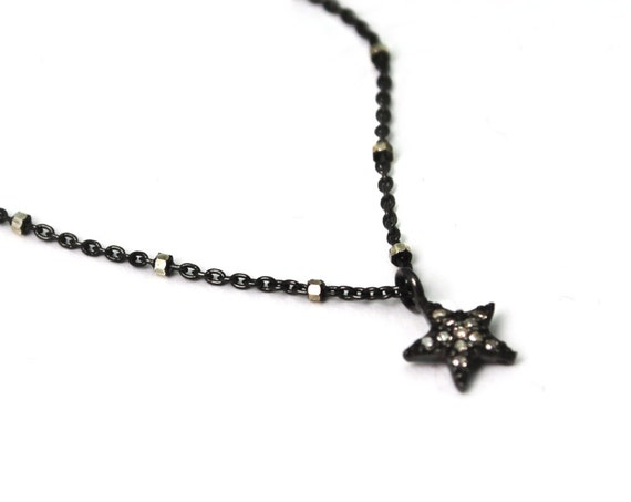 Pave Diamond Star Necklace. Tiny Sterling Silver Star Necklace. Black Diamond Necklace. NS-2303