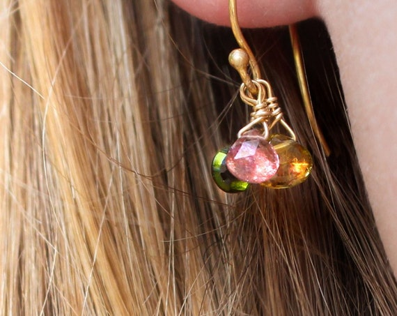 Triste. Three Tear Drops. Watermelon Tourmaline Earrings. October Birthstone. Rose Gold, Sterling Silver, or Gold Filled Earrings.
