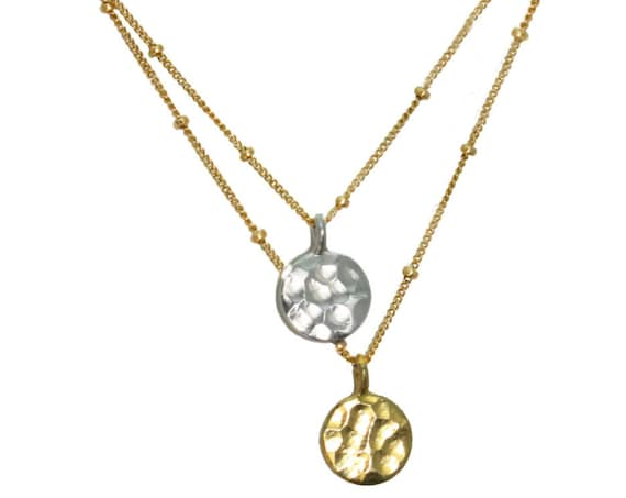 Dangling Karats. Sun and Moon Necklace. Hammered Disks in Sterling Silver or Gold Vermeil.