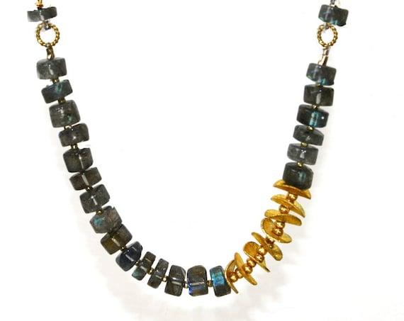 Labradorite and Gold Disk Beaded Necklace. Modern and Unique Necklace in Grey and Gold or Silver.