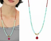 Indian Summer Collection. Beaded Necklace, Peru Opal, Raspberry Red and Gold Nugget Necklace with Ruby Chalcedony Drop, In Gold or Silver