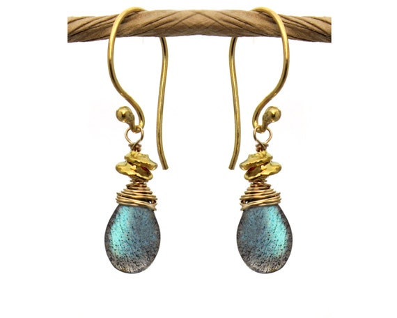 Wire Wrapped Labradorite Earrings with Wire Wrapped Tiny Nuggets. Also in Silverite, Smoky Topaz, Gold or Silver E-1964-1
