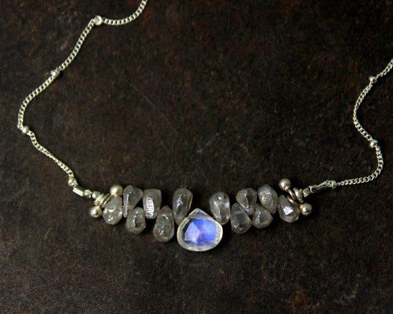 Rainbow Moonstone and Silverite Necklace. Bridesmaid Gift. Briolette Bar Necklaces.  Multi Gemstone Necklaces.  N2396