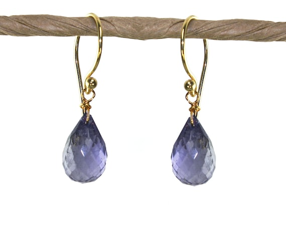 Iolite Water Sapphire Teardrop Earrings. Your choice of 22k Gold Vermeil or Sterling Silver.