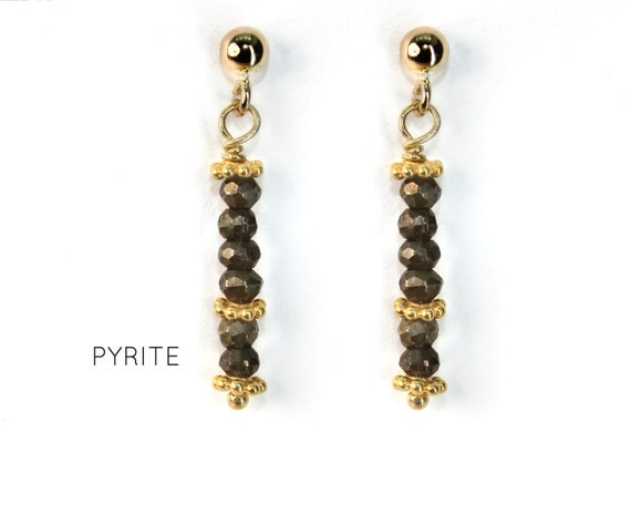 Pyrite Earrings, Earthy Post Earrings. Minimal jewelry. Healing Stones, Vertical Bar Studs. Gold Filled, Silver, Rose Gold. E2621