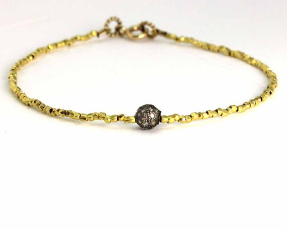Pave Diamond Beaded Bracelet. Delicate tiny beads. Stacking Bracelet. Gold Vermeil or Pure Silver. B-1912
