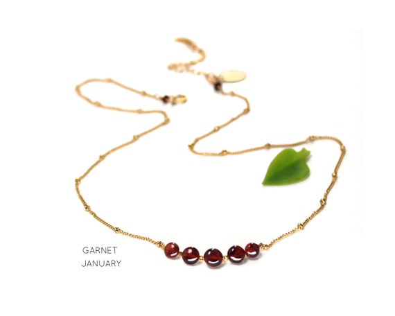 Garnet Necklace. January Birthstone.  Healing Stones. Adjustable Necklace, Gift wrapped Necklace. In Gold Filled, Silver, Rose Gold. N2606