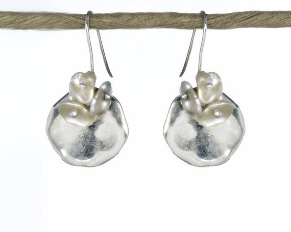 Kalfula. Moon Flower Earrings in Silver and Pearl. Greek Sterling Silver and Ceramic Disks with Keshi Pearls.