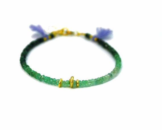 Ombre Emerald Bracelet. Tassel Bracelet. Shaded Ruby and Sapphire options. Gold Fill or Sterling Silver. . B-1757