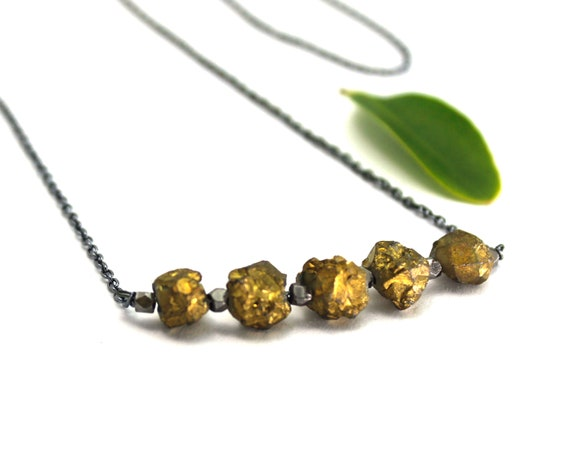 Pyrite Necklace, Fool's Gold Jewelry. Raw Stone Necklace. Healing Crystals. Prosperity Joy. In Gold Filled, Silver, or Rose Gold. N2620