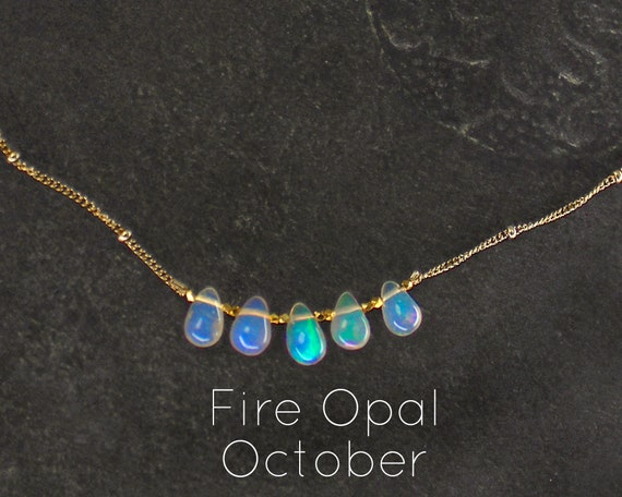 Fire Opal Necklace. November Birthstone. Courage and Creativity. Healing Stones. Layering Necklace. In Gold Filled, Silver, Rose Gold. N2606