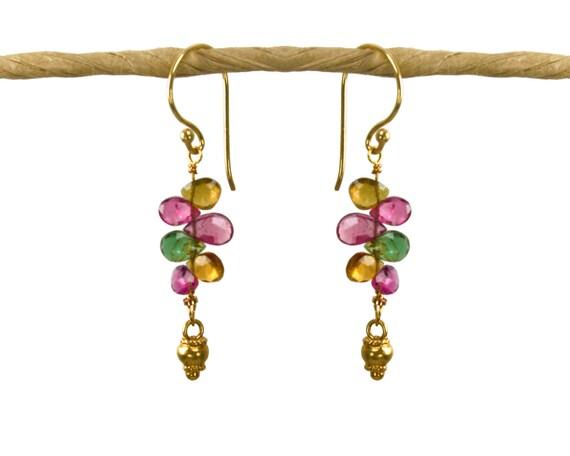 Watermelon Tourmaline Earrings. Vertical bar earrings, with gold vermeil accents & tourmaline teardrops.