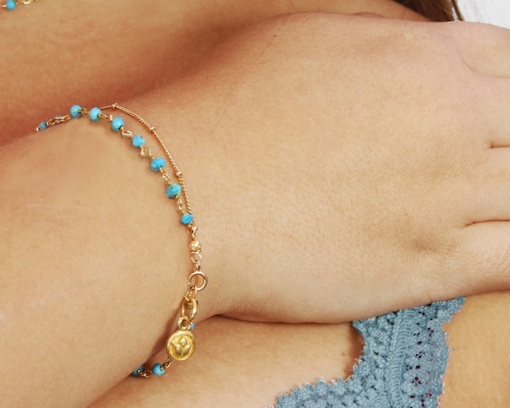 Turquoise and Gold Bracelet. Gold Filled satellite chain, with a Vermeil lotus charm.  Gift wrapped.