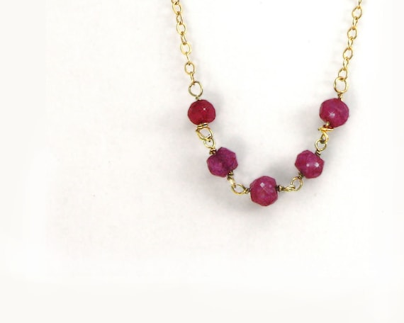 July Birthstone. Ruby necklace. A delicate gold filled necklace with wire wrapped tiny ruby beads. Valentines gift