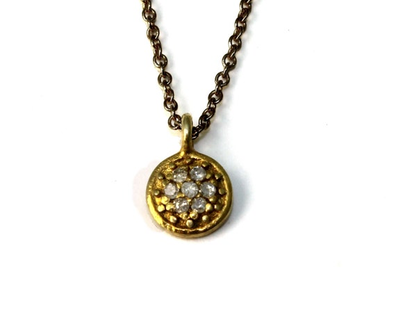 Pave Diamond Disc Necklace with Gold Vermeil, Sterling Silver or Black Oxidized Sterling Silver Chain NS-1965
