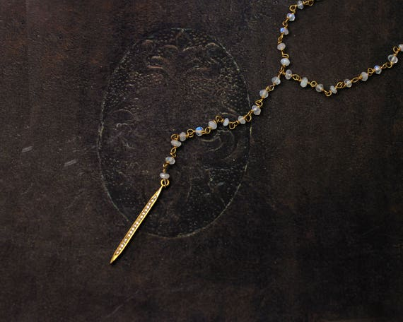 Diamond and Moonstone Y Necklace. Pave Diamond Necklace. Diamond Spike. Dagger or Quill Necklace. Rosary Style.  NY2346.