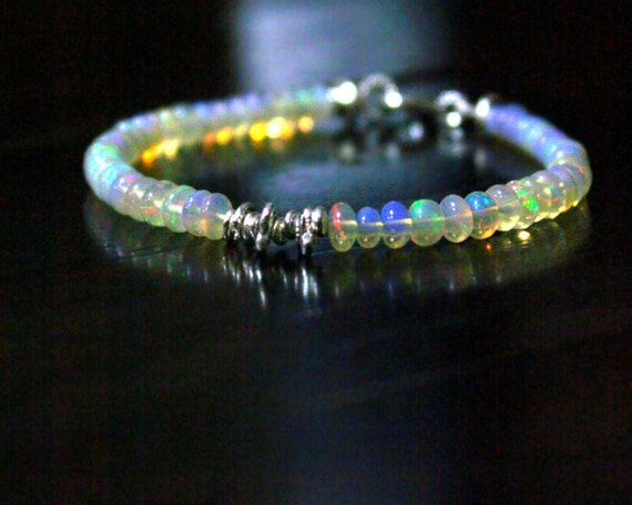 Ethiopian Opal Bracelet for October Birthdays. Stacking Bracelet in Sterling Silver or Gold Filled.