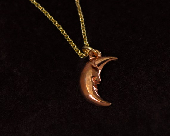 Man in the Moon Necklace. Crescent Moon Jewelry, In Your Choice of Mixed Metals.  Rose Gold Moon Necklace