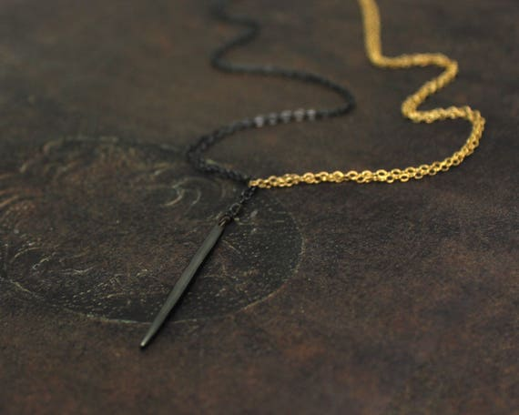 Y Necklace. Necklace. Two Tone Lariat.  Spike Necklace. Mixed Metals Quill Necklace. Minimal Necklace.  NS1970-2