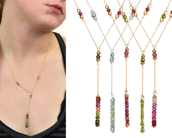 Y Necklace. Birthstone Jewelry. Lots of Choices Adjustable Lariat. In Gold Filled, Silver, Rose Gold. N2604