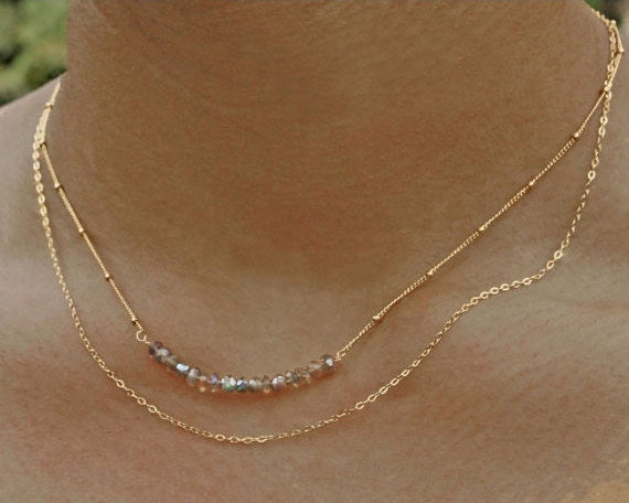 Labradorite Double Layer Bar Necklace.  Multi Strand Necklace In Gold Filled or Sterling Silver.