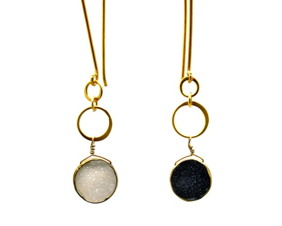 Long Eternity Sun and Moon Earrings. Day and Night Druzy Earrings. Asymmetrical Eternity Circle Earrings. E1530-2