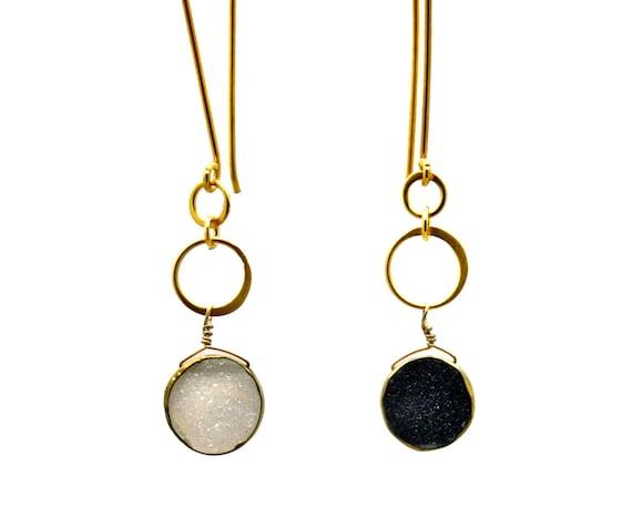 Long Eternity Sun and Moon Earrings. Day and Night Druzy Earrings. Asymmetrical Eternity Circle.