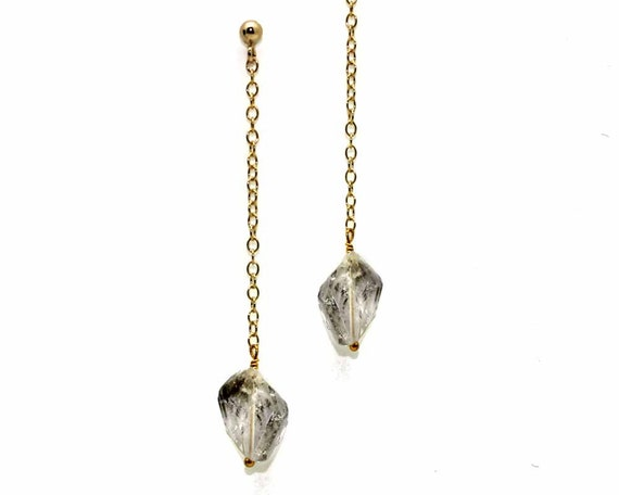 Raw Gemstone Nugget Earrings. You Choose Gemstone. Rough Citrine, Tourmaline nuggets, Herkimer Diamond Earrings. E-1923