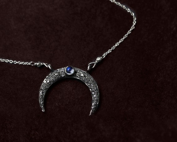 Pave Diamond Crescent Moon Necklace with Blue Fire Moonstone. Luna Goddess.