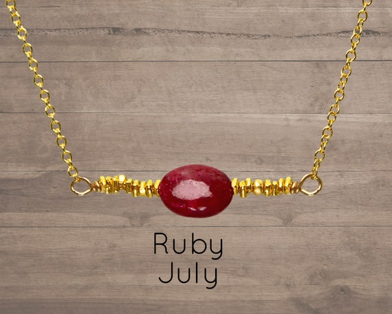Ruby Choker, July Birthstone. Single Ruby necklace, With Hill Tribe beads. Also in Emerald or Opal Gold, Rose Gold or Silver. N2854