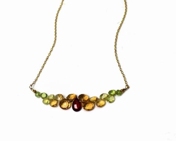 Bar Necklace. Citrine, Peridot and Garnet Necklace, Multi Gemstone Necklace. Bridesmaid Gift. Fall Wedding N-2352-G