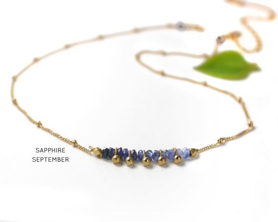 Sapphire Choker. September Birthstone. Ombre Jewelry. Shaded Sapphire. Adjustable Choker. In Gold Filled, Silver, Rose Gold. N2607