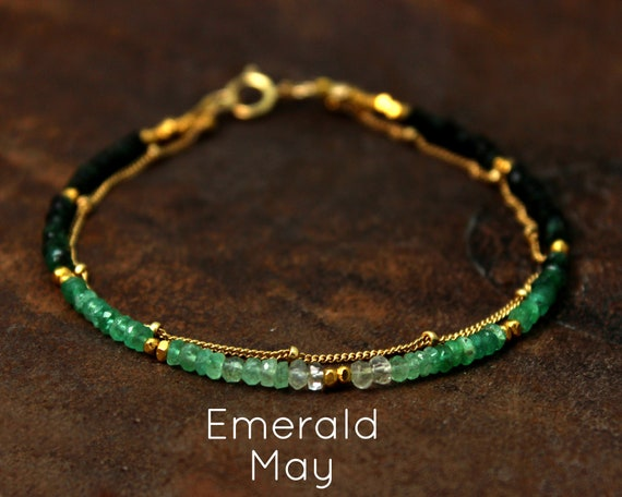 Ombre Beaded Bracelet. Emerald Bracelet. Double Layer Bracelet. Also in Sapphire or Ruby, Gold or Silver. B-2193-2