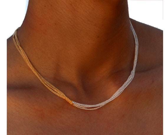 Two Tone Layering Choker. Mixed Metal Necklace. Minimal Jewelry in Black and Silver, Rose Gold and Gold or Any Combo.