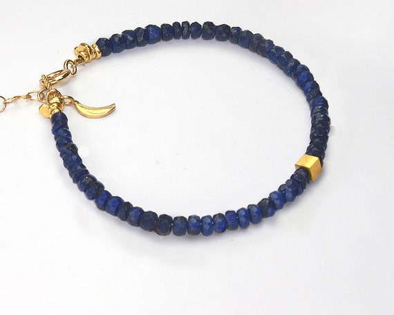 Sapphire Bracelet or Anklet. Modern Gold or Silver Cube and Crescent Moon Accents. September Birthstone.tone.