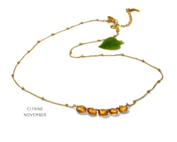 Citrine Necklace. November Birthstone. Multi Stone Necklace. Gift for Grandma. Healing Stones. In Gold Filled, Silver, Rose Gold. N2606-HD