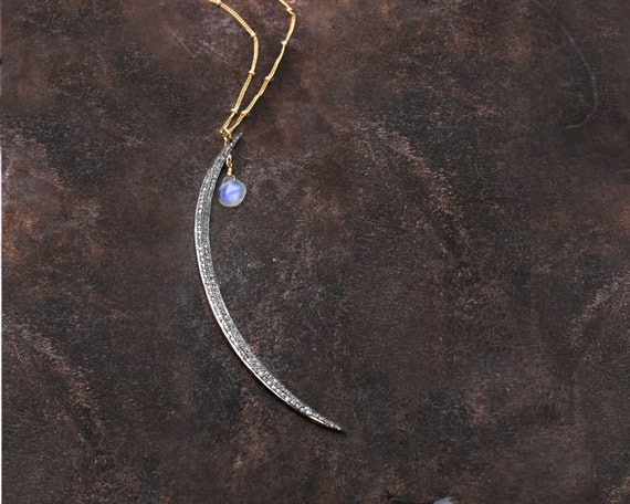Pave Diamod Moonstone Crescent Moon Necklace. Moon Goddess.