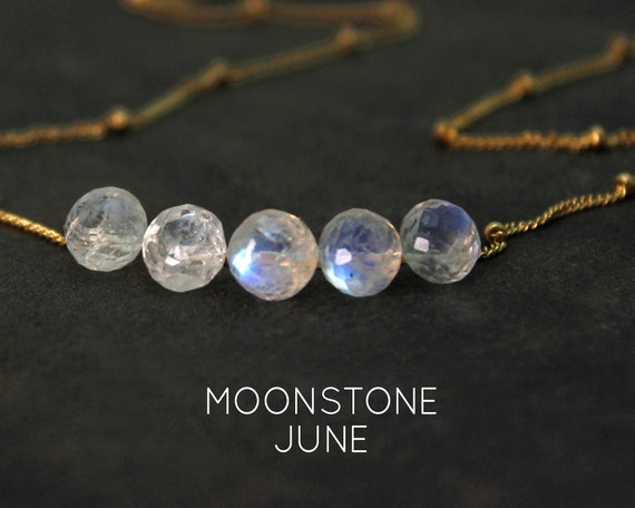 Moonstone Necklace. June Birthstone. Multi Stone Necklace. Gift for Sister. Healing Stones. In Gold Filled, Silver, Rose Gold. N2606