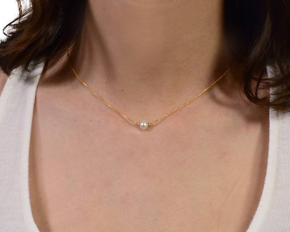 Floating Freshwater Pearl Necklace. Single round Pearl Necklace. Gold Filled Necklace , Rose Gold , Sterling Silver NS-1956