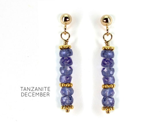 Tanzanite Earrings, Burgundy Post Earrings. December Birthstone. Healing Stones, Vertical Bar Studs. Gold Filled, Silver, Rose Gold. E2621