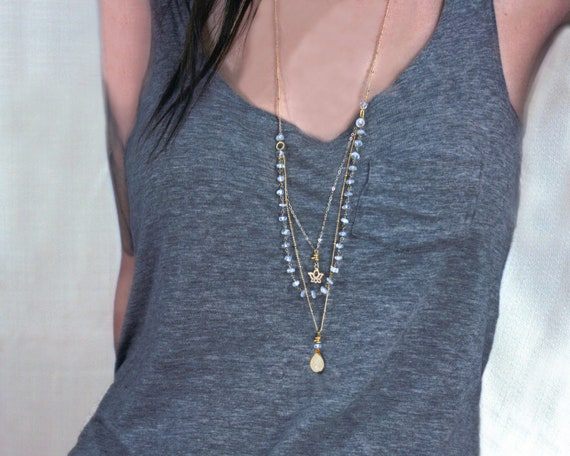 Long Multi Strand Yoga Lotus Necklace with your choice of Crystal or Druzy.