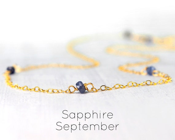 Sapphire Birthstone Choker. Lucky 3, Custom Personalized  Gift. Delicate Short Necklace, September Birthstone Jewelry, N2857a