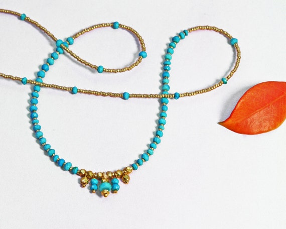 Turquoise and Gold Beaded Necklace. Delicate and Exotic. Jubjub. In Gold or Silver.