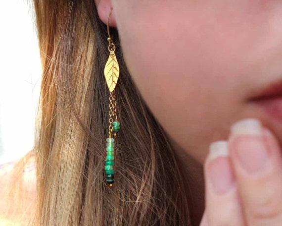 Boho Chic Leaf Earrings. Ombre Shaded Emerald Beaded Drop Earrings. Gold or Sterling Silver. Nature Jewelry. E-1762