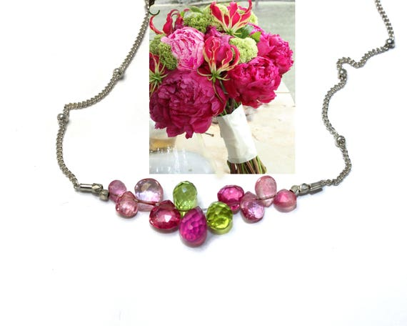 Bridesmaid Gift. Pink Sapphire and Citrine Necklace. Wedding Color Match Service. Multi Gemstone Necklaces.  N2398