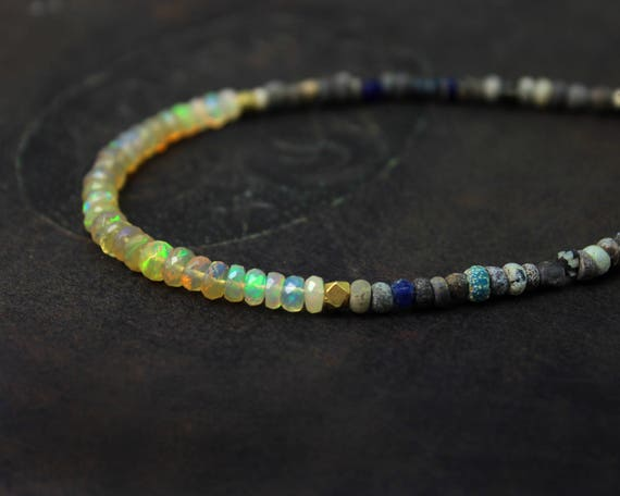 Ethiopian Opal and Ancient Bead Necklace. Beaded Opal Necklace. Antique Beaded Necklace. In Gold or Silver. N-2385