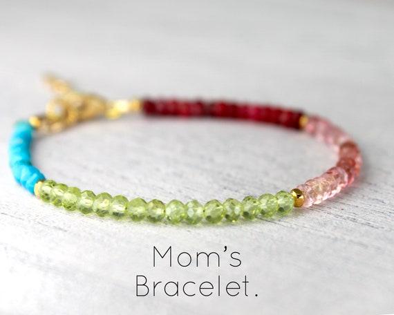 Multi-Birthstone Bracelet. Birthstones for all your Children or Grandchildren. Rainbow Bracelet, Family Jewelry, Gift for Mom B2861
