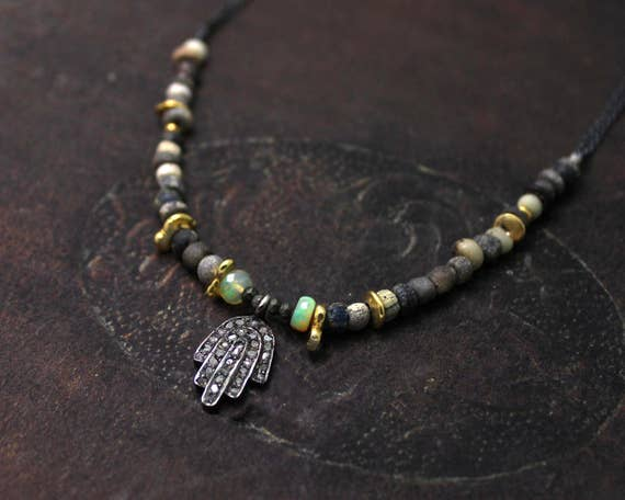Hamsa Necklace. Pave Diamond Necklace. Rustic Necklace. Ancient Roman Glass & Ethiopian Opals. Mixed Metals. N2359BG